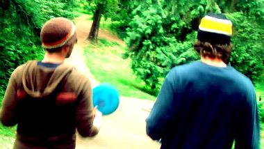 two frolfers in mid-walk